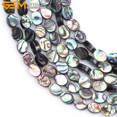 """Natural Oval-shaped Genuine Abalone Shell Gemstone Beads For Jewelry Making 15"""""""