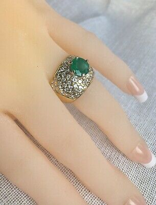Heavy 4.10ct AAA Colombian Natural Emerald  Ring 14K  15.28 grams