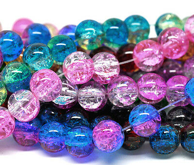 200 x Mixed Dual & Single Color Crackle Beads Craft Beading - 4mm - LB44444 *