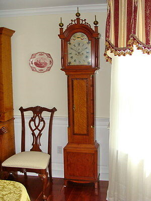 Augusta ME Tall Case Grandfather Clock Benjamin Swan Circa 1806 Birdseye Maple