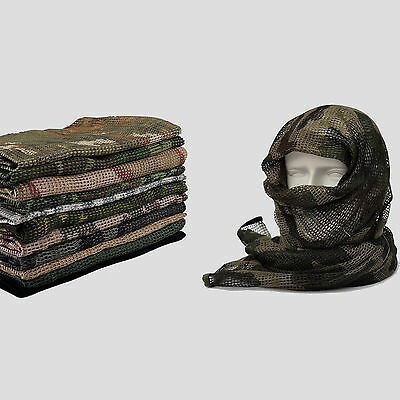 "Camo Black Khaki OD Tactical Mesh Scarf Wrap Mask Shemagh Sniper Veil 68""x33"""