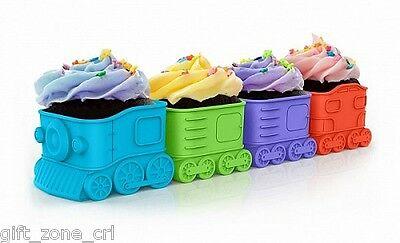 Fred 4 x CUPCAKE EXPRESS CUPCAKE MOULDS - Train CARRIAGE Silicone BAKING CUPS