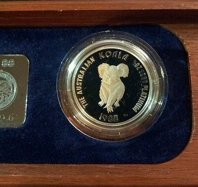 1988 Australia 1/2 oz Platinum Coin Koala First Proof Issue - COA 3296