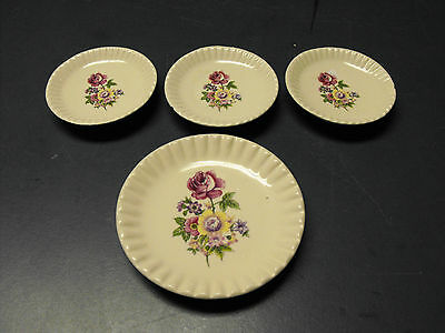 Vintage Lot Of 4 Porcelain White China Butter Pats With Flowers  Pattern