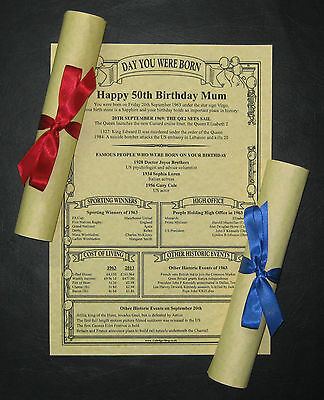 PARCHMENT SCROLL  Birthday present gift keepsake memory special history momento