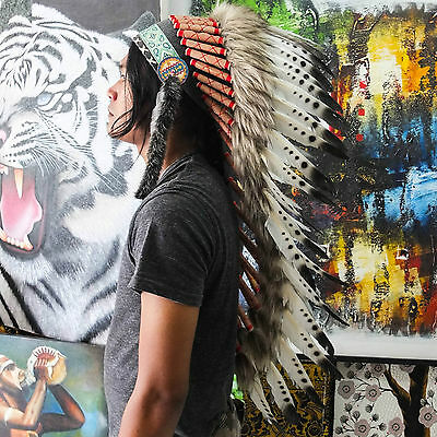 Real Chief Indian Headdress Deluxe Native American Costume Hat Feather Feathers
