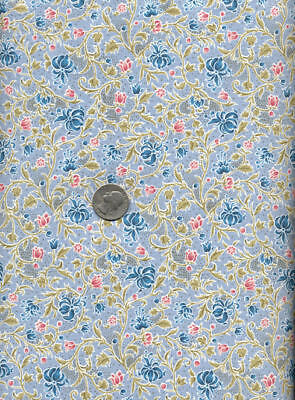 Rare ENGLISH Art Nouveau WILLIAM MORRIS Fabric CLASSICAL FLORAL Vine Small BLUE