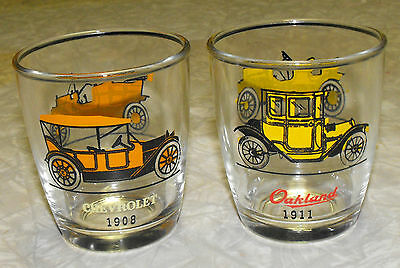 VINTAGE lot of 2 OLD AUTOMOBILE GLASSES TUMBLERS SWANKY SWIGS 7oz.CHEVY FORD