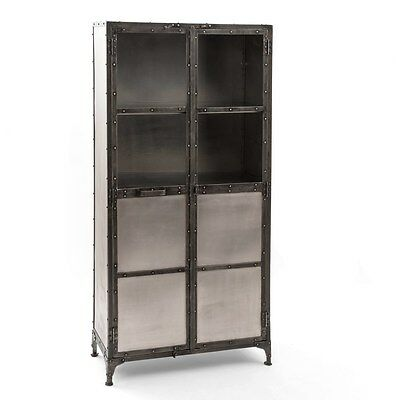 "71"" H Industrial iron Cabinet 2 doors Antique nickel finish 3 shelves Steel base"