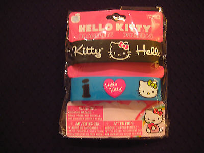 Hello Kitty - Silicone Rubber Bracelets - Package of 2 - Black & Blue #S4