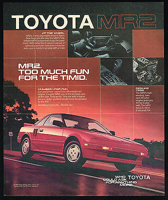 1986 Toyota Red MR2 Sports Car Too Much Fun Vintage Photo Print Ad
