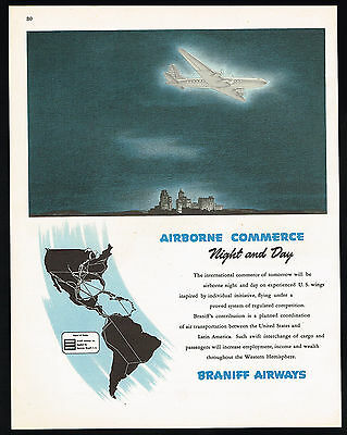 1945 Braniff Airways Airlines Routes US And Latin America Print Ad