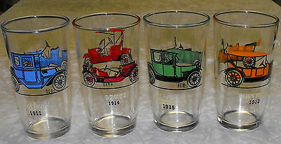 VINTAGE lot of 4 OLD AUTOMOBILE GLASSES TUMBLERS SWANKY SWIGS 10oz.CHEVY FORD