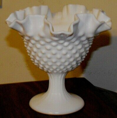 VINTAGE 50's-60's FENTON WHITE MILK ART GLASS HOBNAIL COMPOTE SERVING DISH 6""