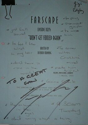Farscape, Gigi Edgley's Original Script, signed & with personal note