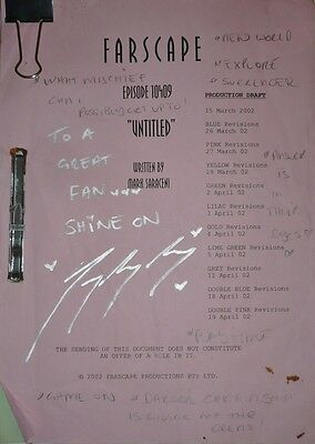 Farscape, Gigi Edgley's Originals Scripts, signed & with personal note