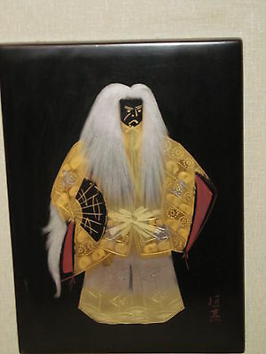 Japanese Antique Style Lacquer Panel Kabuki Artist Signed Taisho Period