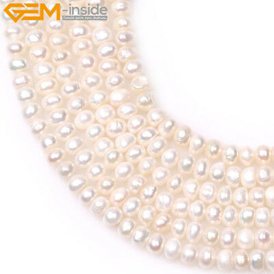 """Tiny Button Freeform White Freshwater Pearl Jewelry Making Beads 15"""" Gem-inisde"""