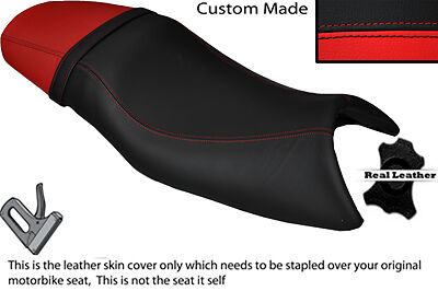 BLACK /& BRIGHT RED CUSTOM FITS TRIUMPH SPEED FOUR 600 DUAL LEATHER SEAT COVER