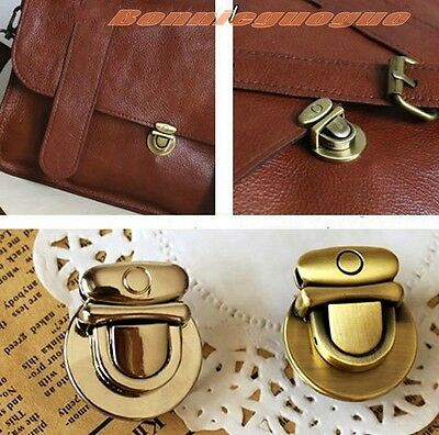 2pcs Brass Silver Plated Tuck Lock Closure Leather Bag Case Clasp Button Buckle