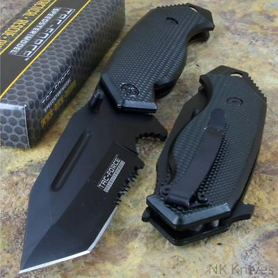 Tac-Force Black Assisted Opening Folding TANTO BLADE Rescue Pocket Knife New!!