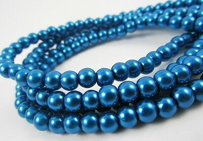 Glass Pearl Royal Blue 3mm, 4mm,6mm,8mm,10mm,12mm round spacer loose beads
