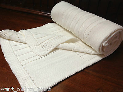 BNWT Rochdale Boutique 100% Pure Cotton Knitted Baby Blanket -Shawl Natural Knit