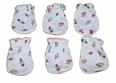 Ice Cream - 6 Pairs 100% Cotton Newborn Baby/Infant Anti-scratch Mittens Gloves