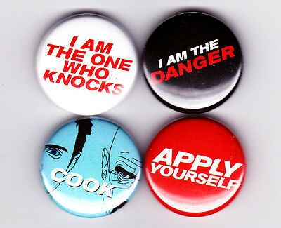 Breaking Bad Quote badges! - i am the one who knocks danger apply yourself cook!