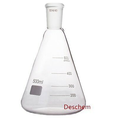 500ml,24/40,Glass Erlenmeyer Flask,Ground Joint Conical Bottle,Lab Glassware
