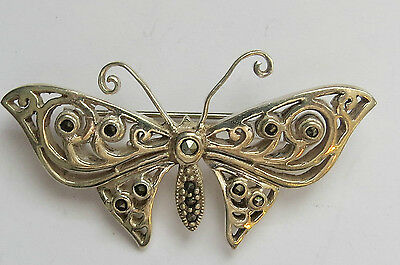 P-56 Sterling Silver Butterfly Brooch With Marcasite Stones