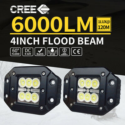 2x 30W CREE LED Work Light Flood Driving Flush Mount Offroad 4WD Truck 5inch