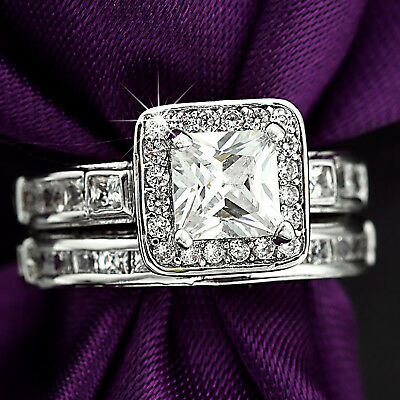 18K White Gold Gf Vintage Square Lab Diamond Sapphire Wedding Ladies Solid Rings