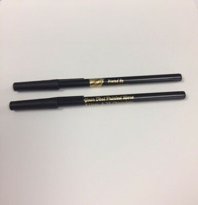 Custom Printed Stick Pens Black & White Personalized with Your Info Pkg of 50