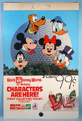 Walt Disney World 15th Anniversary Coca-Cola Cans Bottles Store Sign Epcot 1987