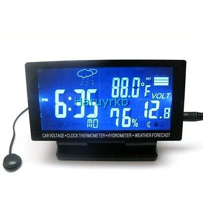 12v LCD Digital Clock TIME Car Thermometer Hygrometer Voltage Weather Forecast