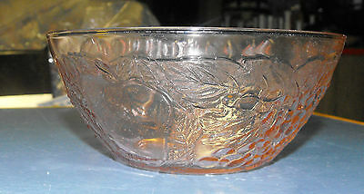 "Vintage Pink Depression Glass Pear Apple Vegetables 6.5"" Bowl"