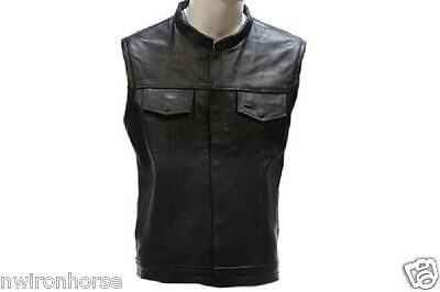 MEN'S LEATHER BIKER OUTLAW SOA STYLE CLUB VEST RED LINER 40 TO 64 NEW OL*(316-R)