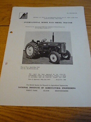 NIAE INTERNATIONAL B 414 DIESEL TRACTOR BROCHURE  jm