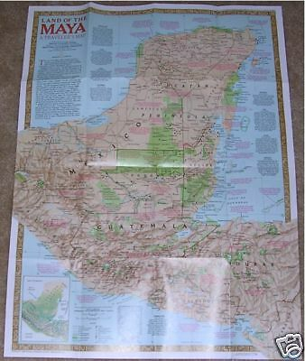 National Geographic MAP Land Ancient MAYA October 1989 Mexico Indians