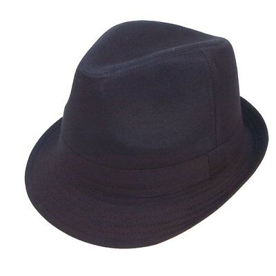 Black 100% Cotton Trilby Gangster Hat 5 Sizes