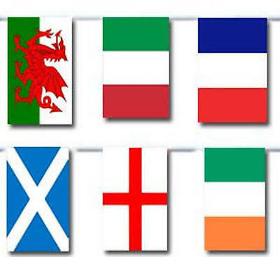 100Ft  6 Nations Rugby Flags Bunting England Ireland Scotland Wales France Italy