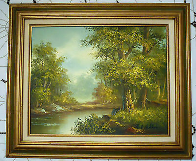 Oil Painting on Canvas Signed B.C. Wellan of River in Forest, Modern Late 20th c
