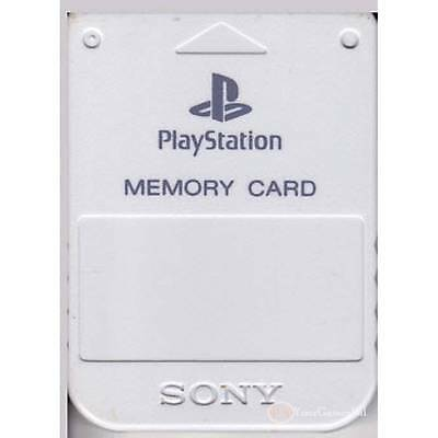 PS1 MEMORY CARD BY SONY PLAYSTATION 1  1 (MB) - LIGHT GREY PSone 100% ORIGINAL