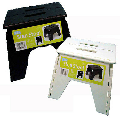 Step Stool Folding Foldable Handy Helper Easy Store Stepping Up Sitting Down WHT
