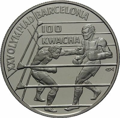 1992 Zambia Large Silver Proof 100 Kwacha-Olympic Boxer