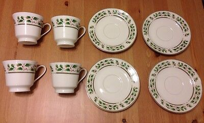 Holly Holiday Set of 4 Cups and 4 Saucers China Nice Christmas Gift