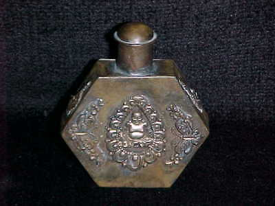 Rare Vintage ORIENTAL CHINESE BUDDHA SNUFF BOTTLE Metal Perfume Antique Dragon