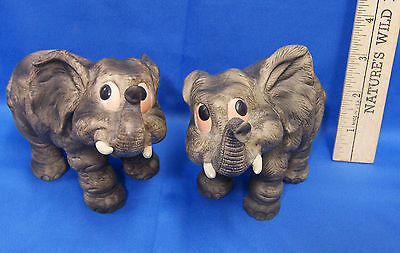 Vintage Pair of Ceramic Baby Elephant Figurines Andrea by Sadek Made in Taiwan