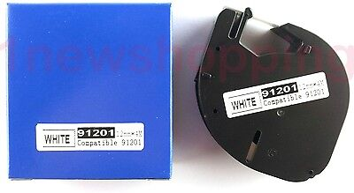 2PK  compatible Dymo 91201 BLACK ON WHITE PLASTIC LABEL Tapes 12MM x 4M QX50